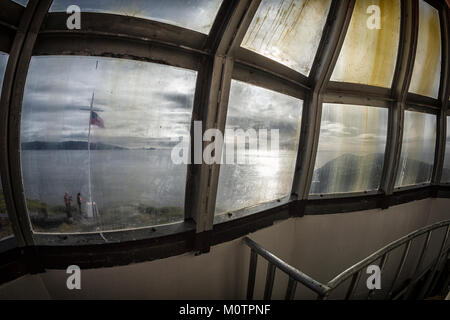 Looking out from Cape Horn Light in Tierra del Fuego, Chile - Stock Photo