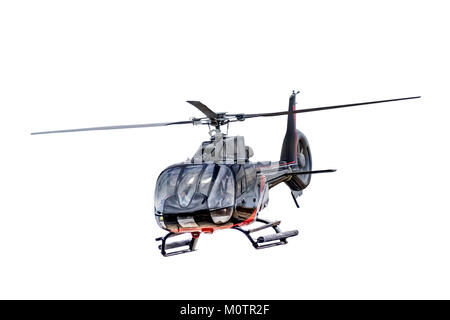 Front view of flying helicopter, isolated on white background - Stock Photo