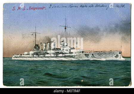Old German postcard 'SMS Helgoland' 1909, German battleship of the Helgoland type, first world war 1914-1918, the - Stock Photo