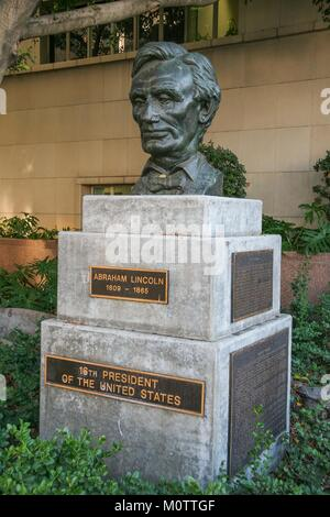 Sculpture of the 16th President of the United States Abraham Lincoln (1809 - 1865) made in 1961 by Robert Merrill - Stock Photo