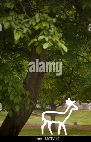 2D deer sculpture in grounds of Auckland Castle, Bishop Auckland, County DurhamAuckland Castle, Bishop Auckland, - Stock Photo