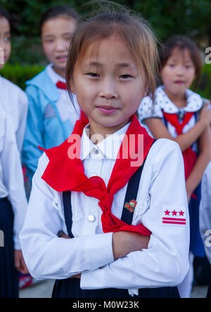 Pioneer girl in Songdowon international children's camp, Kangwon Province, Wonsan, North Korea - Stock Photo
