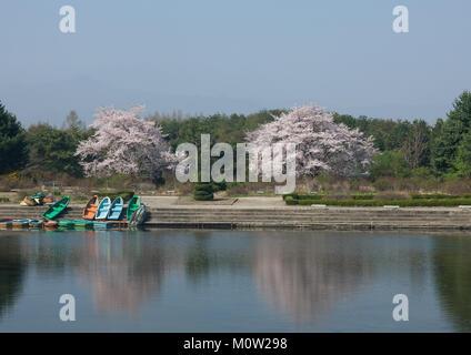 Lake in Songdowon international children's camp, Kangwon Province, Wonsan, North Korea - Stock Photo