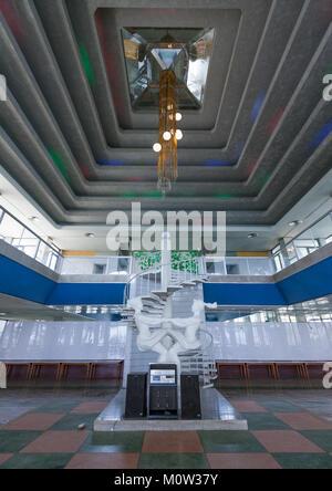 Grand hallway with staircase in Songdowon international children's camp, Kangwon Province, Wonsan, North Korea - Stock Photo