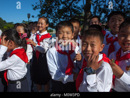 North Korean pioneers in the Songdowon international children's camp, Kangwon Province, Wonsan, North Korea - Stock Photo