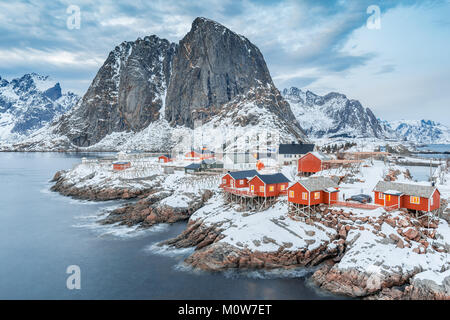 Hamnoy, Lofoten islands, Norway. winter view in cloudy evening - Stock Photo