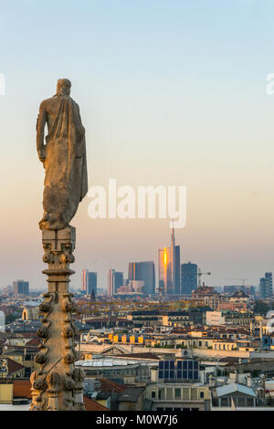 Italy,Lombardy,Milan,skyline with Unicredit Tower viewed from Duomo roof - Stock Photo