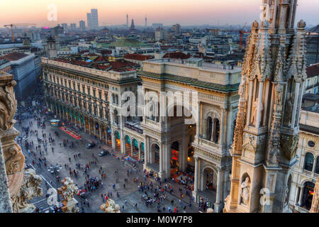 Italy,Lombardy,Milan,Galleria Vittorio Emanuele II viewed from the Duomo roof - Stock Photo