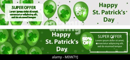 Happy St. Patrick's Day set of horizontal banners with balloons, clover, shamrock. Template for your design, flyer - Stock Photo