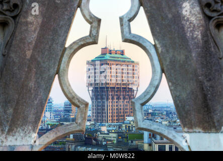 Italy,Lombardy,Milan,Velasca Tower viewed from the Duomo roof - Stock Photo