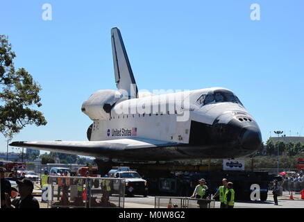 Los Angeles, CA - Oct. 13, 2012: NASA's Endeavour space shuttle is on display during the retirement parade for the - Stock Photo