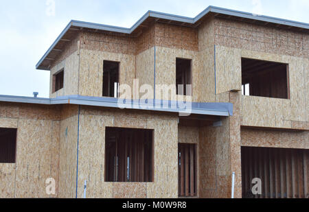 Close up of a large home under construction in the Pacific Northwest city of Ferndale, Washington, USA. - Stock Photo