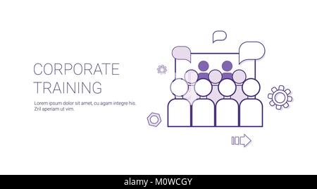Corporate Training Business Coaching Concept Banner With Copy Space Thin Line - Stock Photo