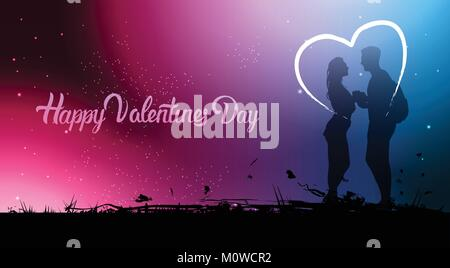 Beautiful Valentines Day Banner With Silhouette Couple Holding Hands Over Blurred Colorful Background - Stock Photo