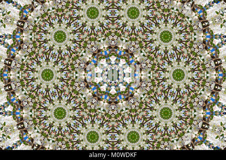 abstract background of floral pattern of a kaleidoscope. white blue green background fractal mandala. abstract kaleidoscopic - Stock Photo