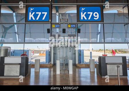 Departure information signal at airport terminal. Travel background. Horizontal - Stock Photo