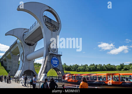 Tourists visiting Falkirk Wheel, rotating boat lift connecting the Forth and Clyde Canal with the Union Canal, Stirlingshire, - Stock Photo