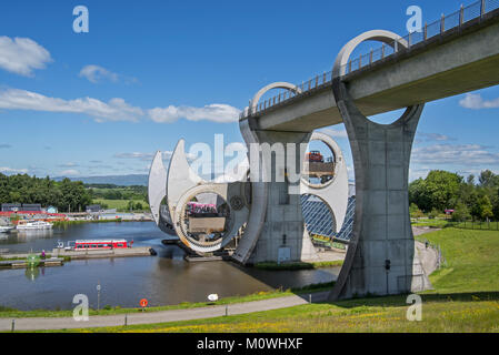 Falkirk Wheel, rotating boat lift connecting the Forth and Clyde Canal with the Union Canal, Stirlingshire, Scotland, - Stock Photo