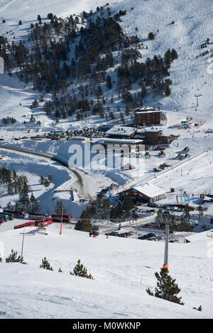 An elevated view down towards Grau Roig, Grandvalaria ski area, Andorra, Europe - Stock Photo