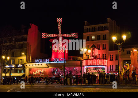 Moulin Rouge and Pigalle place in Paris - Stock Photo