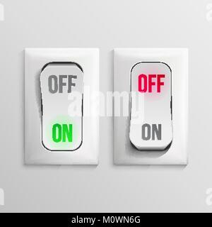 3D Toggle Switch Vector. White Switches With On, Off Position. Electric Light Control Illustration. - Stock Photo