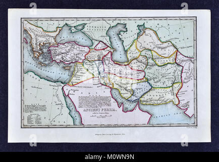 1799 Bible Tract Society Map - Ancient Persia or Elam According to the Old Testament - Stock Photo