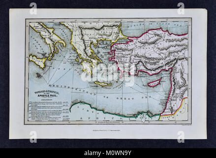 1799 Bible Tract Society Map - The Voyages and Travels of the Apostle Paul in the New Testament Acts - Stock Photo