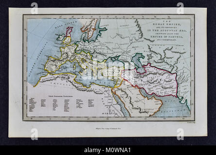 1799 Bible Tract Society Map - The Roman Empire and its Provinces in the Era of Augustus - Stock Photo