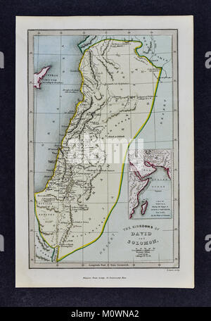 1799 Bible Tract Society Map - The Kingdoms of David and Solomon or the Old Testament - Stock Photo