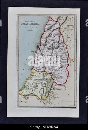 1799 Bible Tract Society Map - Old Testament Kingdoms of Judah and Israel - Stock Photo