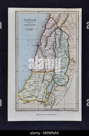 1799 Bible Tract Society Map - Canaan at the Time of Captivities - Ancient Judah & Israel - Old Testament - Stock Photo