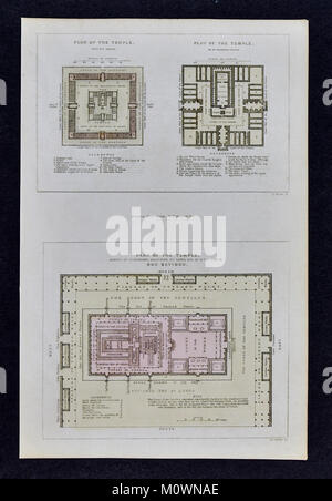 1799 Bible Tract Society Map - Plan of the Temple of Jerusalem at the time of Jesus Christ - Stock Photo