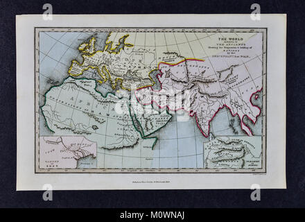 1799 Bible Tract Society Map - The World as Known to the Ancients Showing the Dispersion and Settling of Nations - Stock Photo