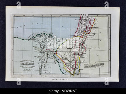 1799 Bible Tract Society Map - Journey of the Israelites from Egypt to Canaan - Stock Photo