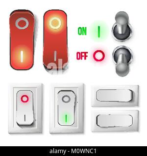 Toggle Switch Set Vector. Plastic And Metal Switches With On, Off Position. Isolated On White Button Illustration. - Stock Photo