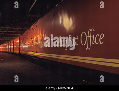 The Travelling Post Office Mail train at night - Stock Photo