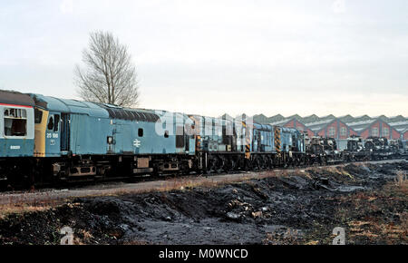 Withdrawn locomotives lined up outside Swindon Engineering Works in 1985 - Stock Photo