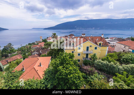 Aerial view from Kanli kula fortress of the Old Town of Herceg Novi city on the Adriatic Sea Bay of Kotor coast - Stock Photo