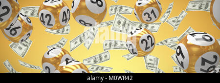 Composite image of lottery balls with numbers - Stock Photo