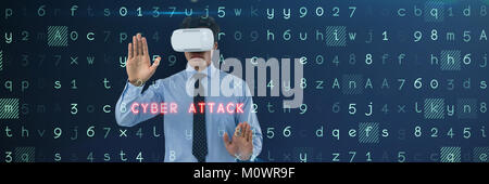 Composite image of businessman wearing vr glasses while using invisible interface - Stock Photo