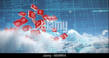 Composite image of blue and grey matrix and codes - Stock Photo