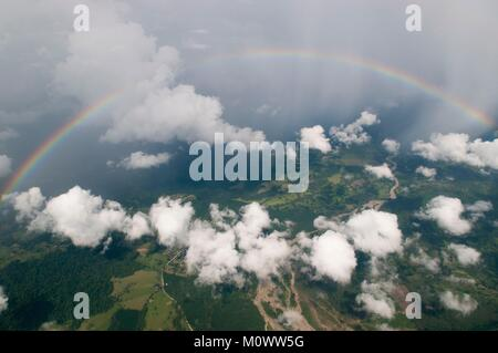 Costa Rica,Puntarenas Province,Rainbow (aerial view) - Stock Photo