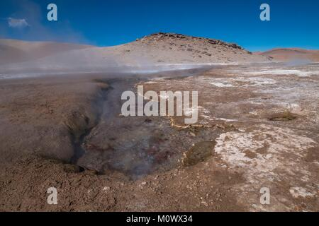 Argentine,Catamarca province,Puna desert,El Penon,hot volcanic springs in the crater of volcan Galan,Laguna Blanca - Stock Photo