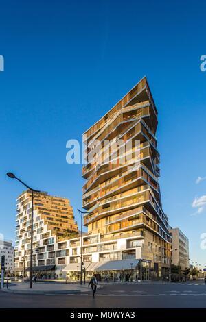 France,Paris,Batiment Home,ZAC Massena,Paris 13th,first high rise apartment building built in Paris since the 1970s,architect,Hamonic - Stock Photo