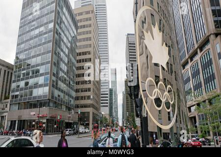 Canada,Quebec province,Montreal,Downtown,Rene-Levesque Boulevard West,Canada Olympic House,Reflections - Stock Photo