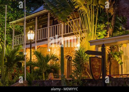 Netherlands,Sint Eustatius,Oranjestad,The Old Gin House Hotel,exterior,dusk - Stock Photo