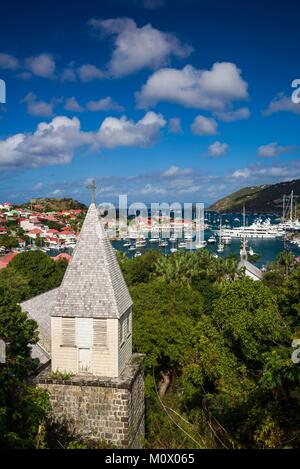 French West Indies,St-Barthelemy,Gustavia,Anglican Church,and elevated view towards Gustavia Harbor - Stock Photo