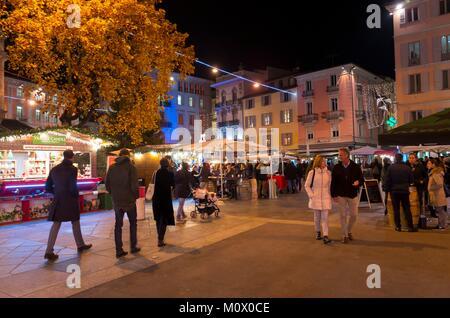 Switzerland,Ticino,Lugano,the christmas market takes place on Piazza Riforma and Via Nassa - Stock Photo