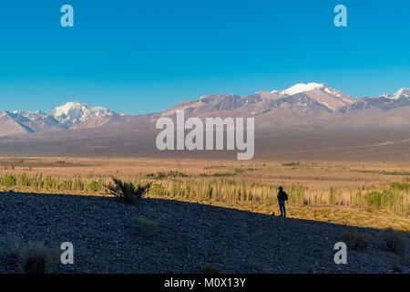 Argentina,San Juan Province,Calingasta Department,Cordillera at Barreal - Stock Photo