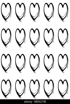 Black Heart Outline Repeated Pattern On Plain White Background - Stock Photo
